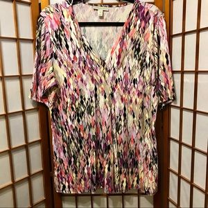 Dana Buchman V Neck Cool Print Pullover Top
